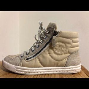 Chanel high top sneakers nude beige.